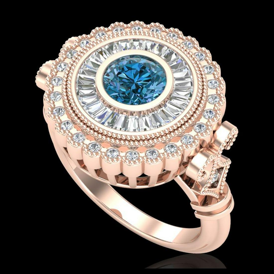 2.03 ctw Fancy Intense Blue Diamond Art Deco Ring 18K