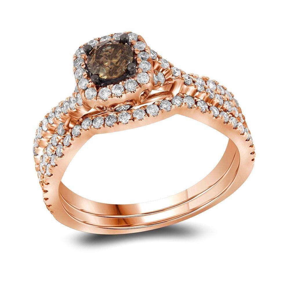 14kt Rose Gold Round Brown Diamond Bridal Wedding