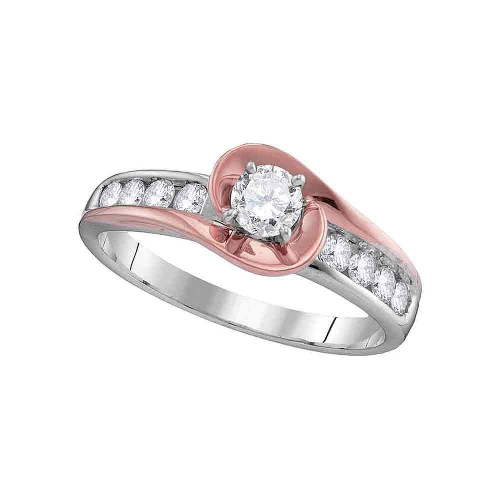 14kt Two-tone Gold Round Diamond Solitaire Bridal