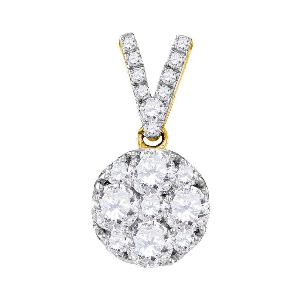 10kt Yellow Gold Round Diamond Cluster Pendant 1.00