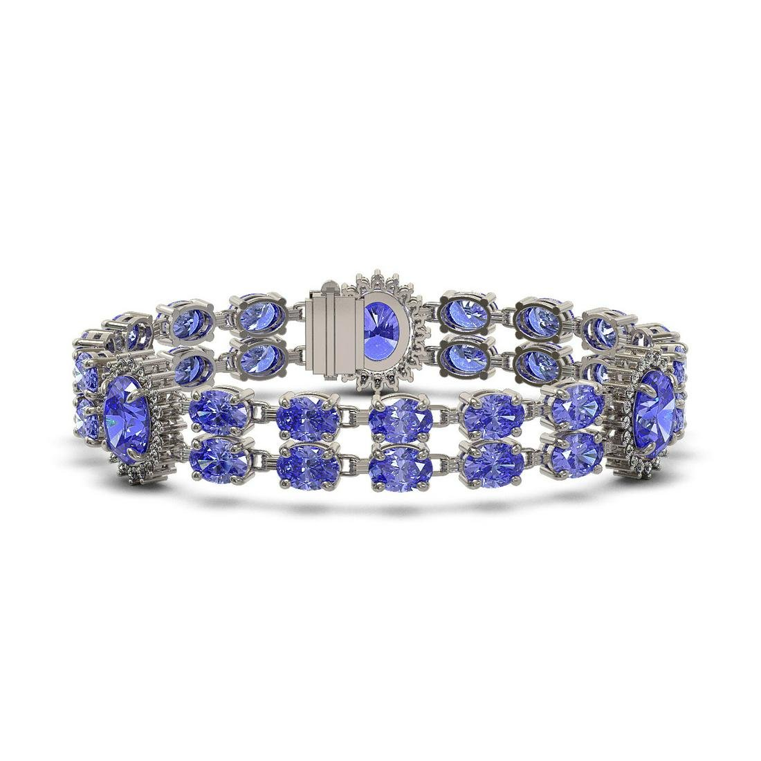 32.77 ctw Tanzanite & Diamond Bracelet 14K White Gold