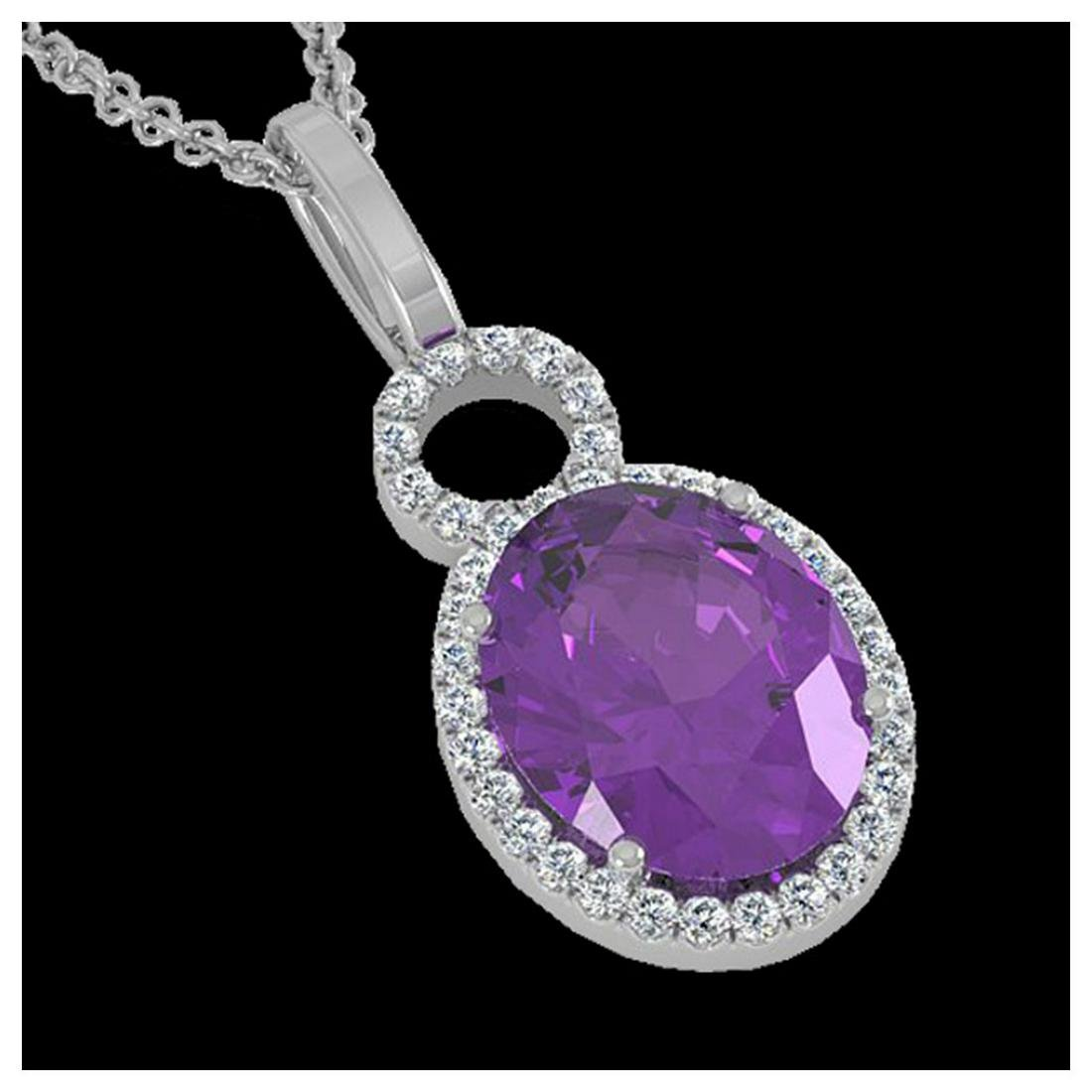 3 ctw Amethyst & VS/SI Diamond Necklace 14K White Gold