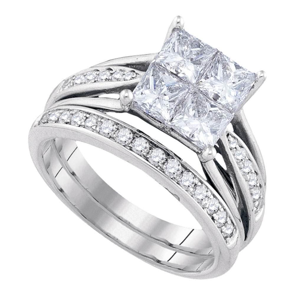 14k Yellow Gold Princess Invisible-set Diamond Wedding