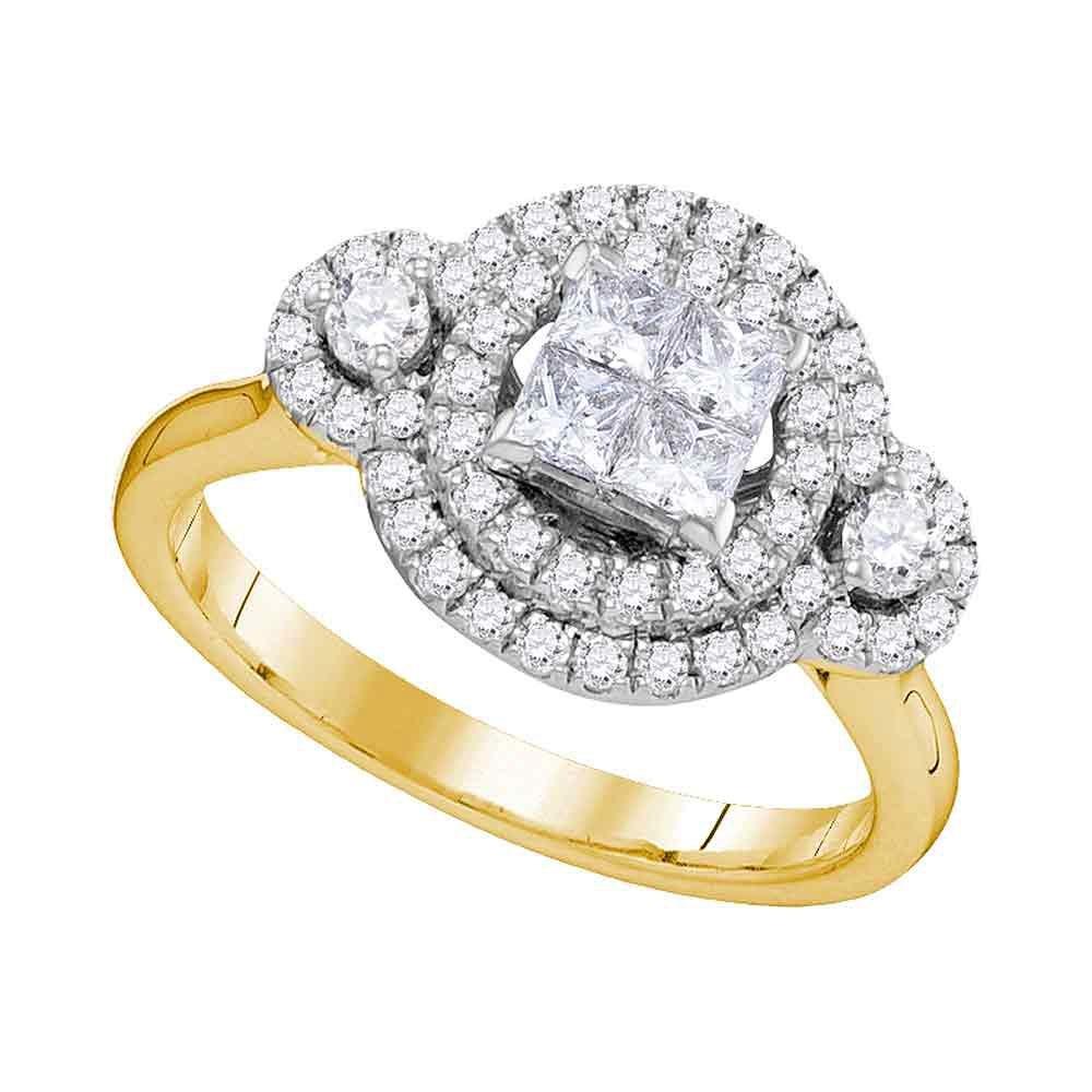 14kt Yellow Gold Princess Diamond Circle Frame Cluster