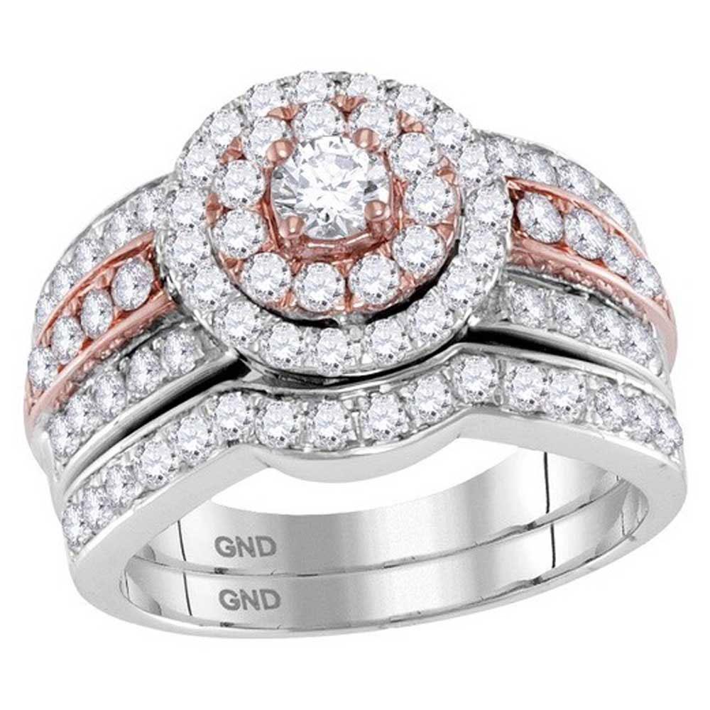 14kt Two-tone Gold Round Diamond Bridal Wedding