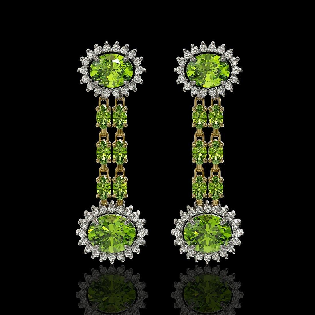 9.21 ctw Peridot & Diamond Earrings 14K Yellow Gold
