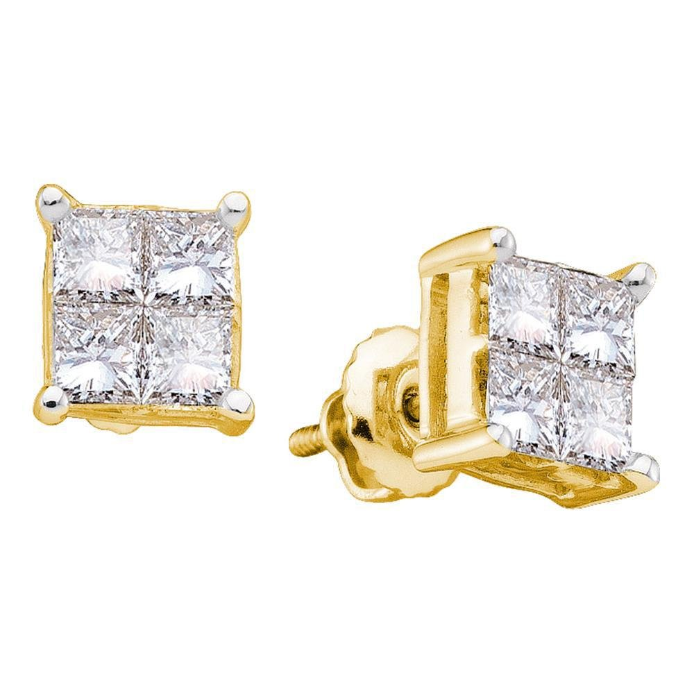 14kt Yellow Gold Princess Diamond Square Cluster Stud