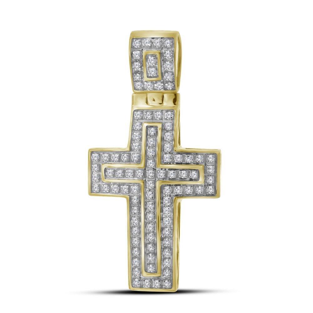10kt Yellow Gold Mens Round Diamond Cross Layered Charm