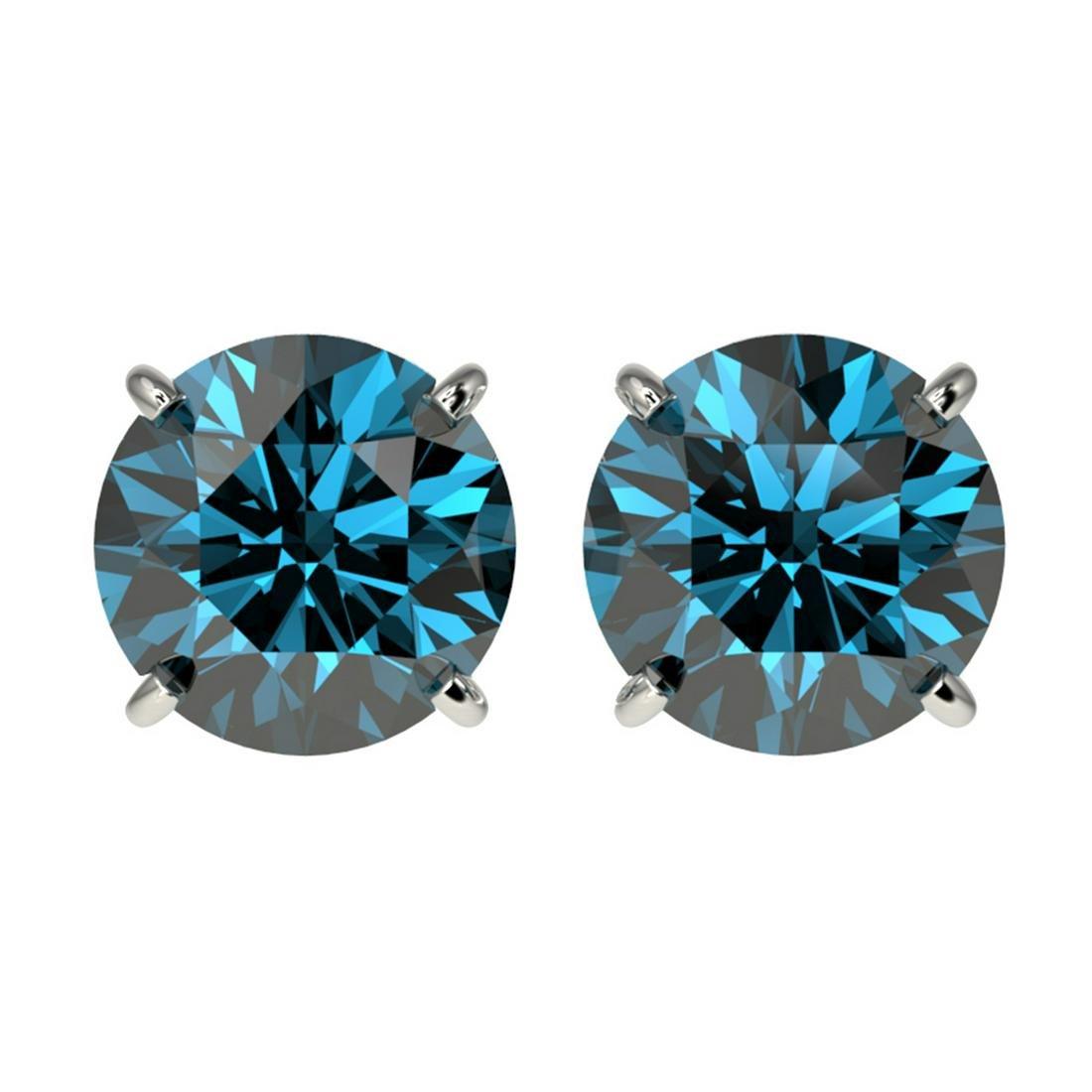 2.56 ctw Intense Blue Diamond Stud Earrings 10K White