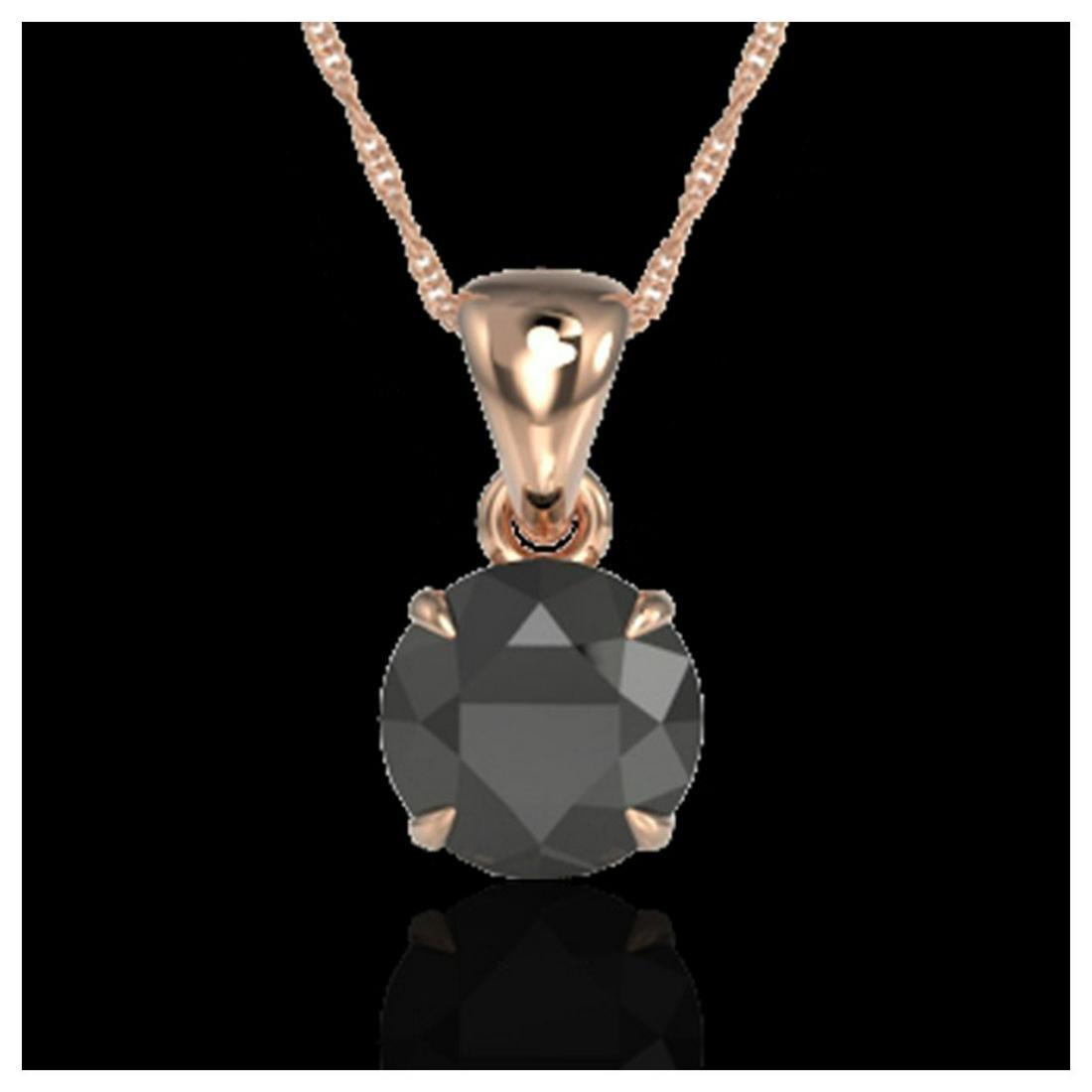 2 ctw Black VS/SI Diamond Necklace 14K Rose Gold