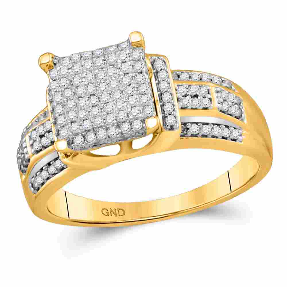 10kt Yellow Gold Round Diamond Square Cluster Bridal