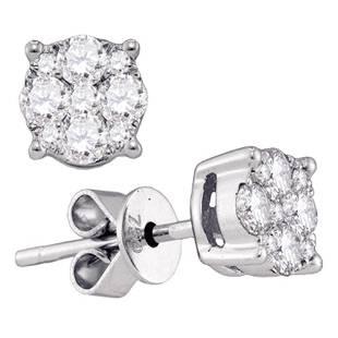 18kt White Gold Round Diamond Cluster Stud Earrings