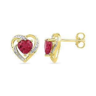 10kt Yellow Gold Round LabCreated Ruby Heart Earrings
