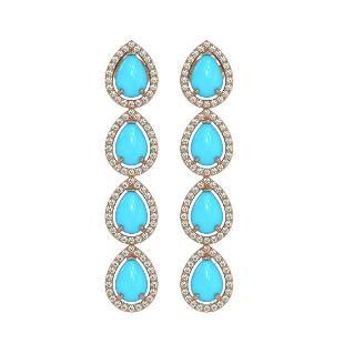 620 ctw Turquoise Diamond Halo Earrings 10K Rose