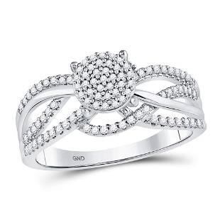 10kt White Gold Round Diamond Woven Strand Cluster Ring
