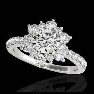 219 ctw HSII Diamond Solitaire Halo Ring 10K White