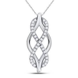 10kt White Gold Round Diamond Vertical Infinity Pendant