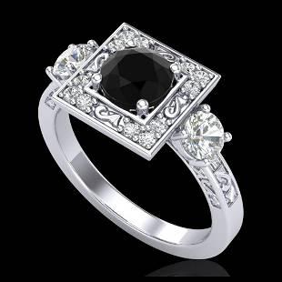 155 ctw Fancy Black Diamond Art Deco 3 Stone Ring 18K