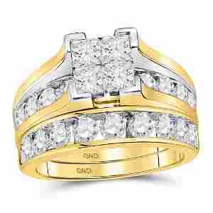 14kt Yellow Gold Princess Diamond Bridal Wedding