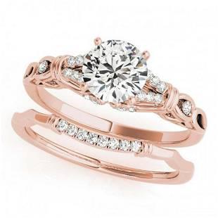 075 ctw VSSI Diamond 2pc Wedding Set 14K Rose Gold