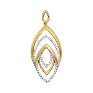10kt Yellow Gold Round Diamond Geometric Oval Pendant