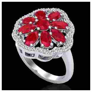 4 ctw Ruby VSSI Diamond Cluster Ring 10K White Gold