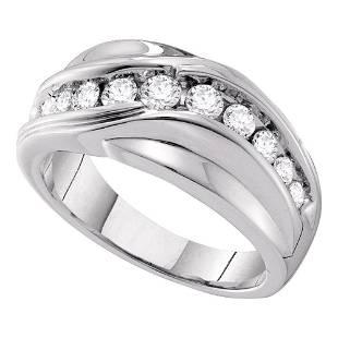 14kt White Gold Mens Round Diamond Curved Wedding Ring