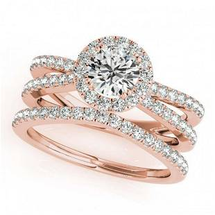 237 ctw VSSI Diamond 2pc Wedding Set Halo 14K Rose
