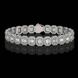 17.28 ctw Emerald Diamond Bracelet 18K White Gold