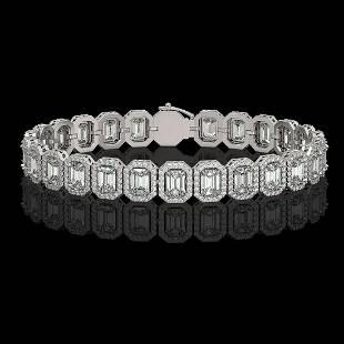 1728 ctw Emerald Diamond Bracelet 18K White Gold