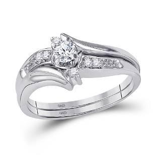 10kt White Gold Round Diamond Bridal Wedding Engagement