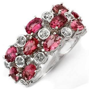 320 ctw Pink Tourmaline Diamond Ring 10K White Gold