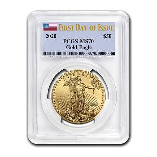 2020 1 oz Gold American Eagle MS70 PCGS First Day of
