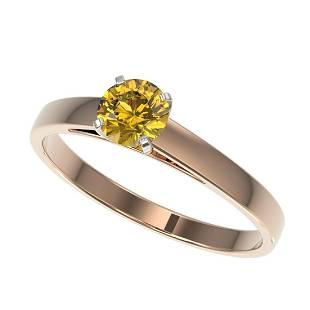 054 ctw Intense Yellow Diamond Ring 10K Rose Gold