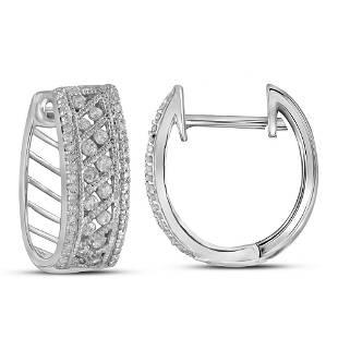 10kt White Gold Round Channelset Diamond Hoop Earrings