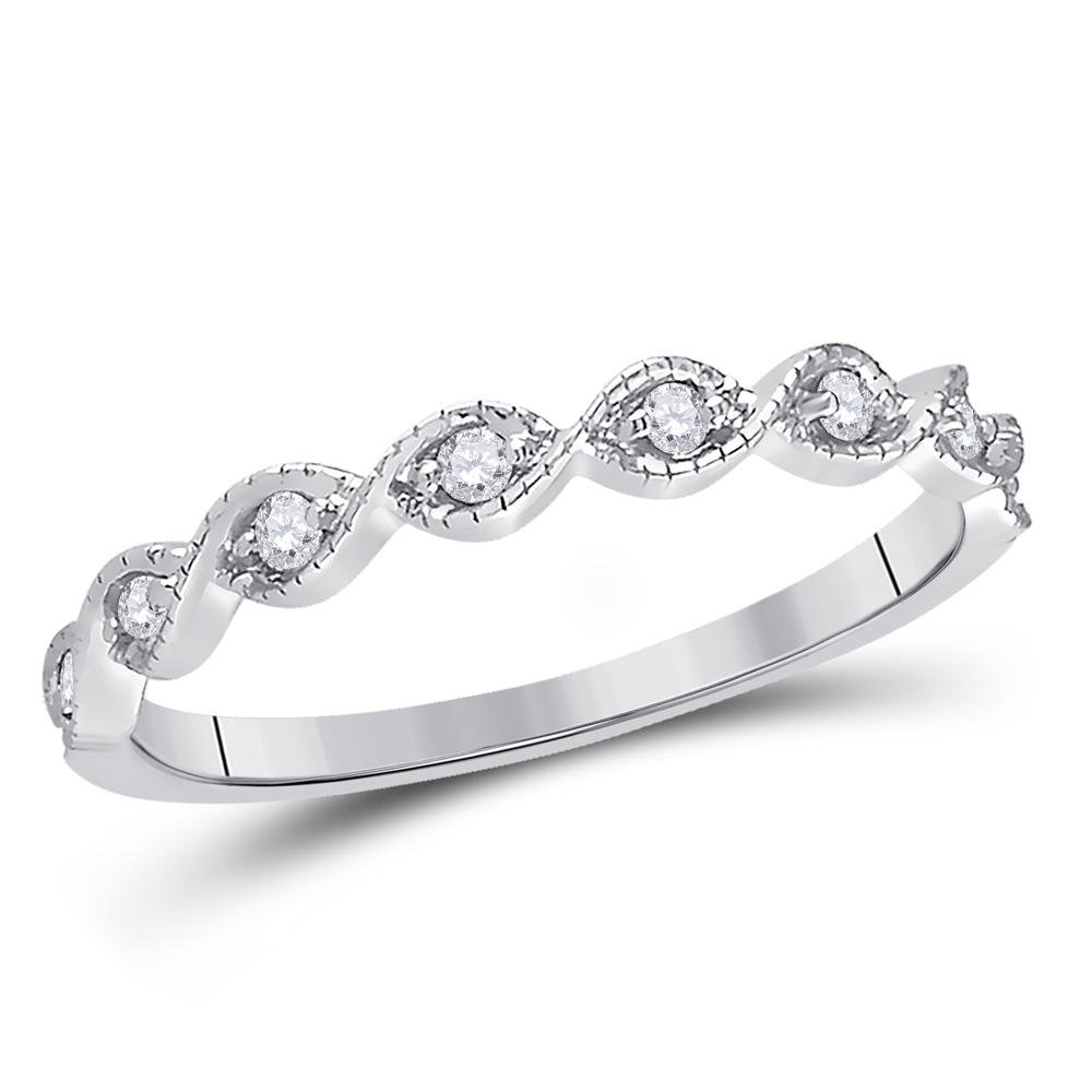 14kt White Gold Round Diamond Twist Stackable Band Ring