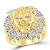 10kt Yellow Gold Mens Round Diamond Lion Mane Cluster