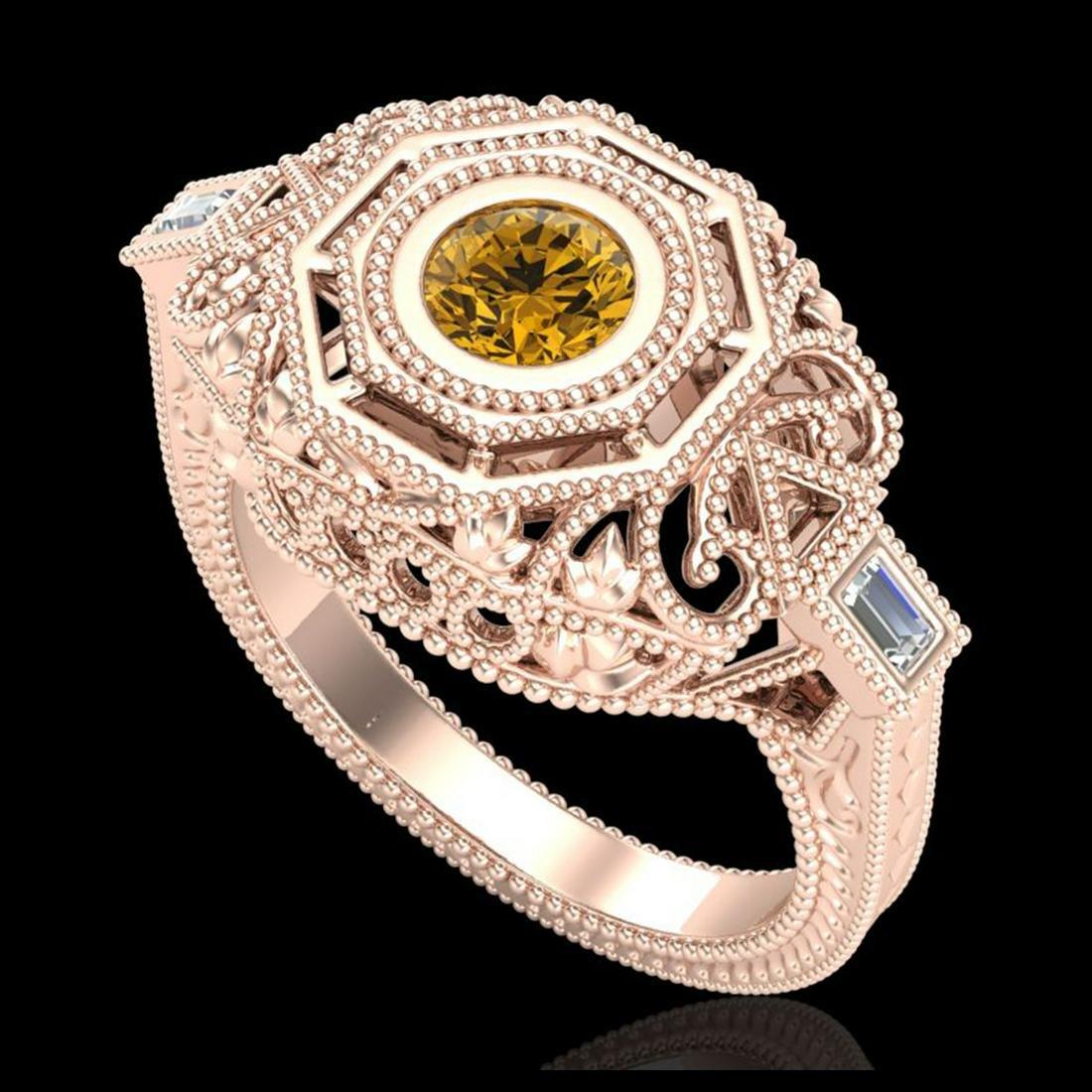 0.75 ctw Intense Fancy Yellow Diamond Art Deco Ring 18K
