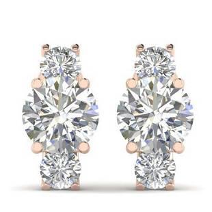 29 ctw VSSI Diamond 3 Stone Stud Earrings 18K Rose