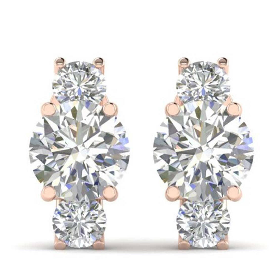 2.9 ctw VS/SI Diamond 3 Stone Stud Earrings 18K Rose