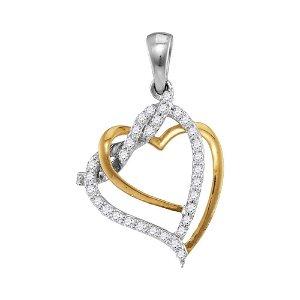 10kt Two-tone White Gold Round Diamond Heart Pendant