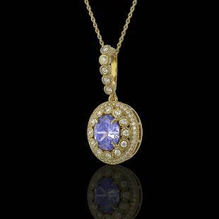 477 ctw Tanzanite Diamond Necklace 14K Yellow Gold