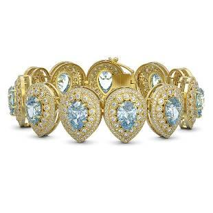 4294 ctw Aquamarine Diamond Bracelet 14K Yellow Gold