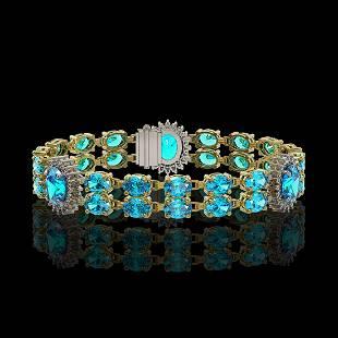 193 ctw Swiss Topaz Diamond Bracelet 14K Yellow Gold