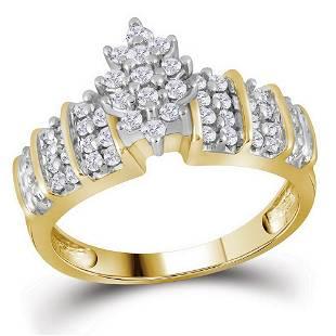 10kt Yellow Gold Round Diamond Marquiseshape Cluster