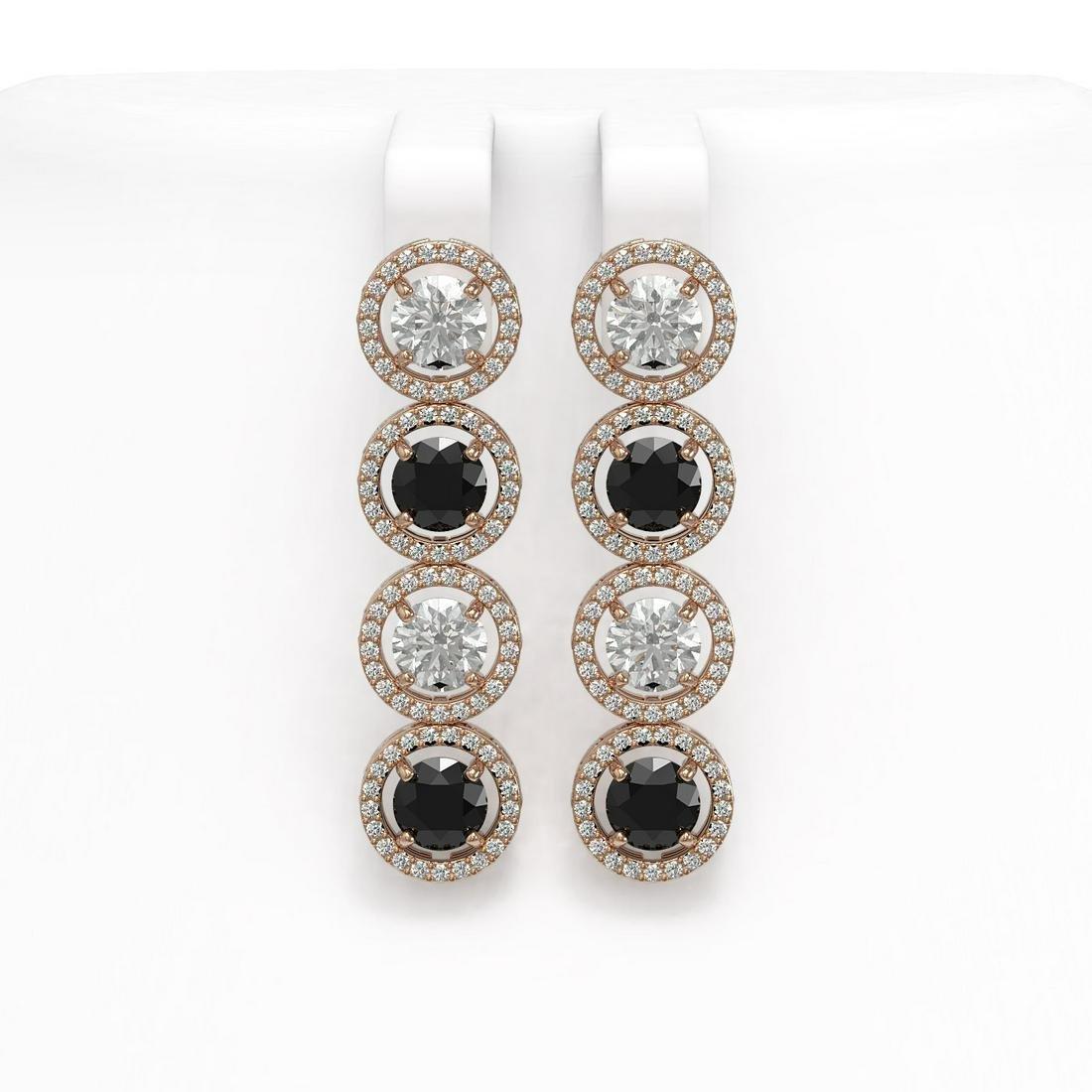 6.22 ctw Black & Diamond Earrings 18K Rose Gold