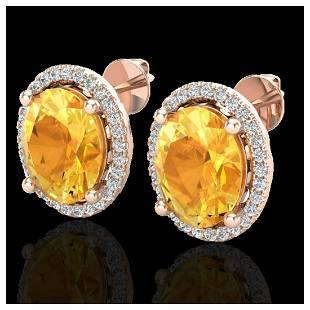 5 ctw Citrine VSSI Diamond Earrings 14K Rose Gold