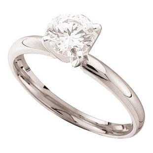 14kt White Gold Round Diamond Solitaire Bridal Wedding