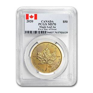 2020 Canada 1 oz Gold Maple Leaf MS70 PCGS First Day