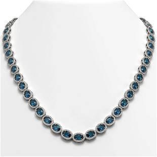 3325 ctw London Topaz Diamond Halo Necklace 10K